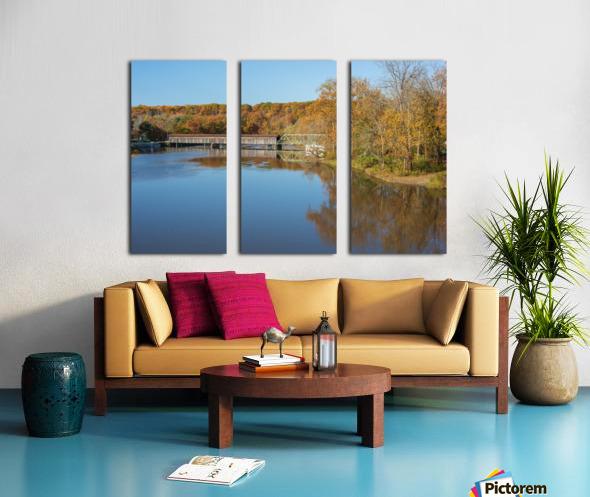 Grand River and Harpersfield covered bridge Split Canvas print