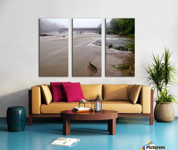Grand River rapids at Harpersfield Covered Bridge Ohio Split Canvas print