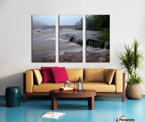 Harpersfield covered bridge and grand river rapids Split Canvas print
