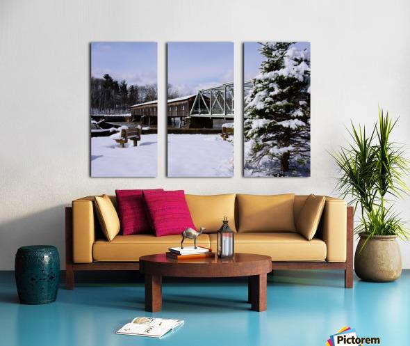 Harpersfield Ohio covered bridge winter and snow Split Canvas print