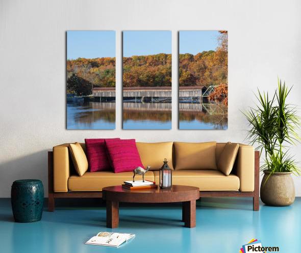 Harpersfield Ohio covered bridge autumn 2020 Split Canvas print