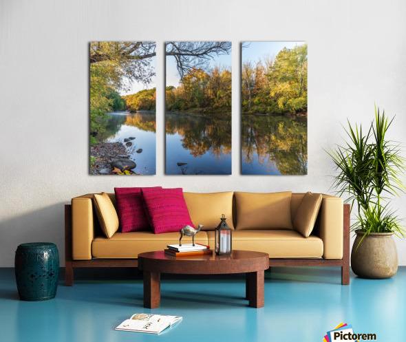 Autumn morning on the Grand River at Mechanicsville Ohio Split Canvas print