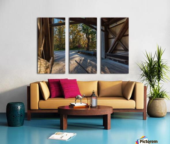 Portal of Mechanicsville covered bridge Ashtabula County Ohio Split Canvas print