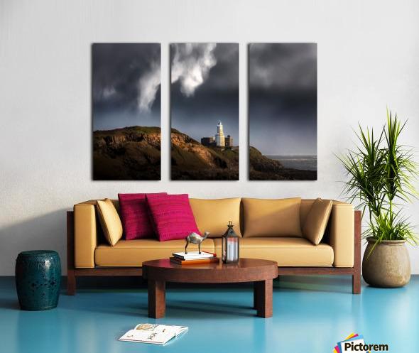 Mumbles lighthouse in the rain Split Canvas print