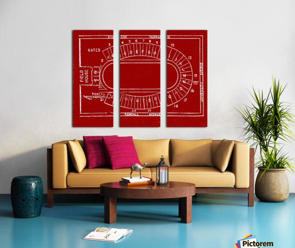 1957 camp randall map art Split Canvas print