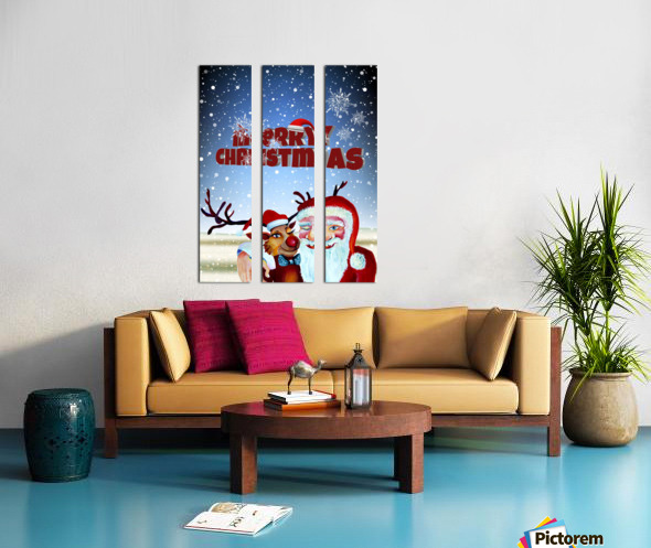 Santa Clause and Rudolph in Magical Winter night Split Canvas print