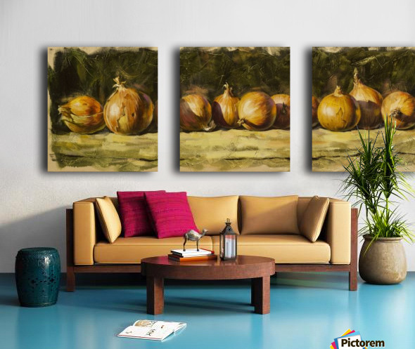 Kitchen Still Life with golden bow Split Canvas print