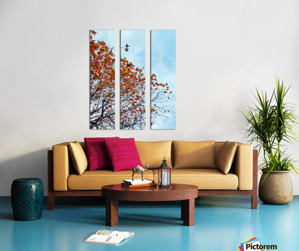 Tree branch with orange autumn leaves and blue cloudy sky Split Canvas print