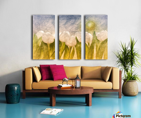 white Tulips  Split Canvas print