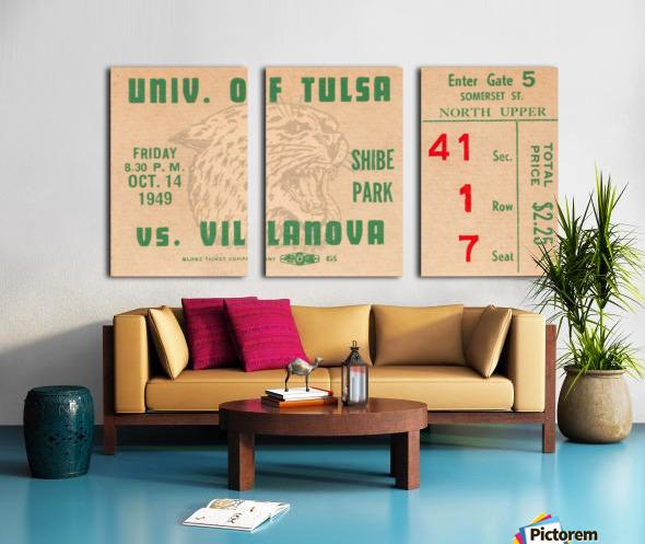 1949 Tulsa vs. Villanova Football Ticket Stub Wall Art Split Canvas print
