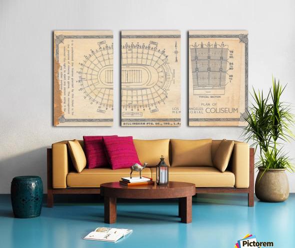 1933 LA Coliseum Map Art Split Canvas print