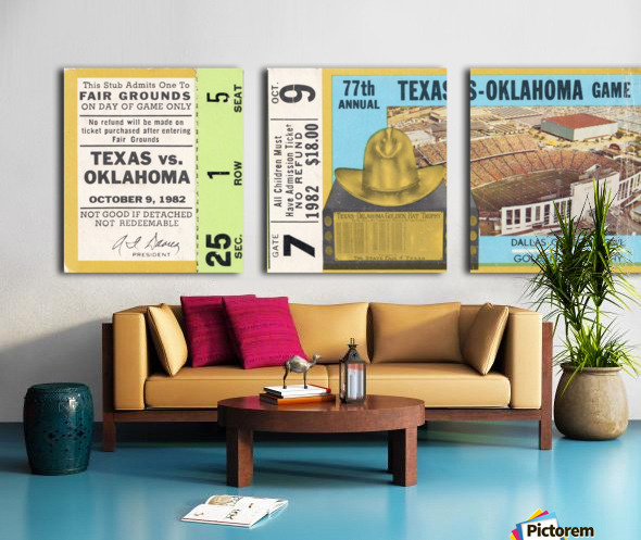 1982 Oklahoma vs. Texas Split Canvas print