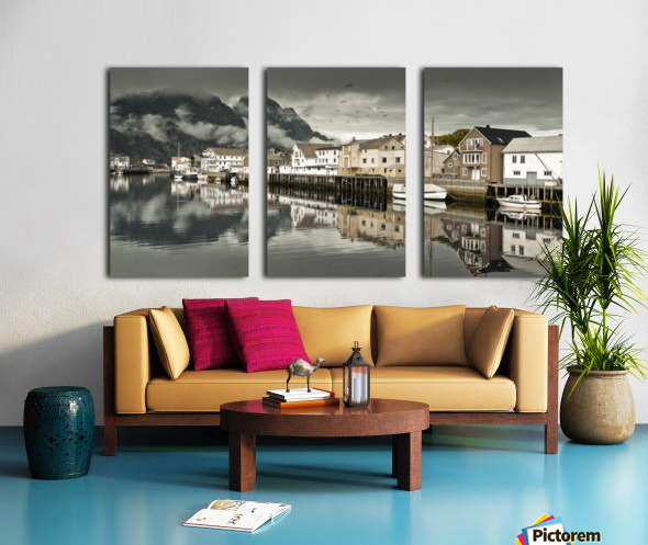 Fishing village, Lofoten, Norway Split Canvas print