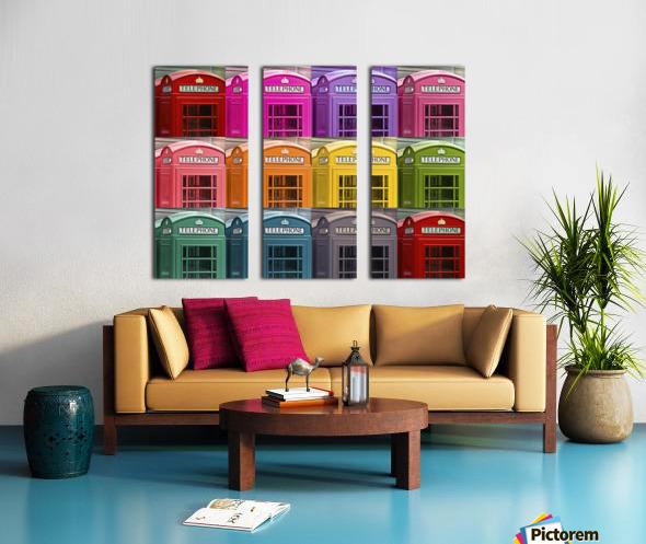 Multicoloured telephone boxes Split Canvas print