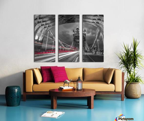 Tower bridge with strip lights, London, UK Split Canvas print