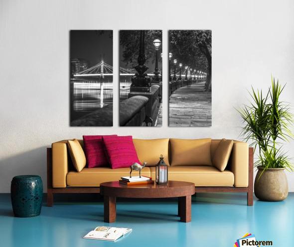 London Riverside Promenade with Albert Bridge Split Canvas print