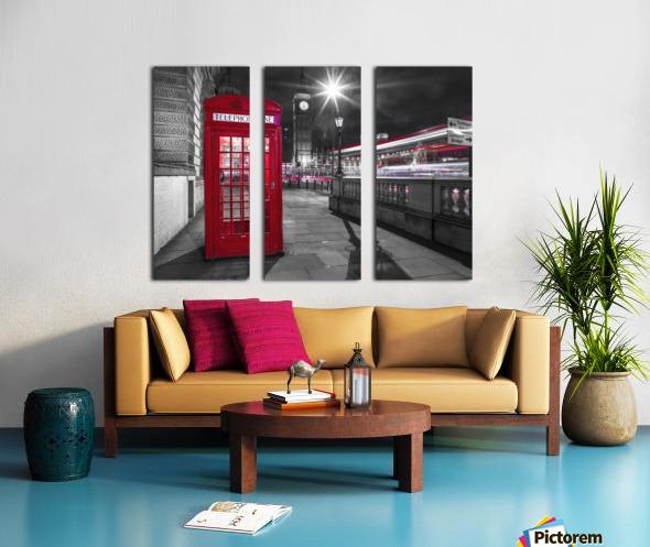 Telephone box with Big Ben, London, Uk Split Canvas print