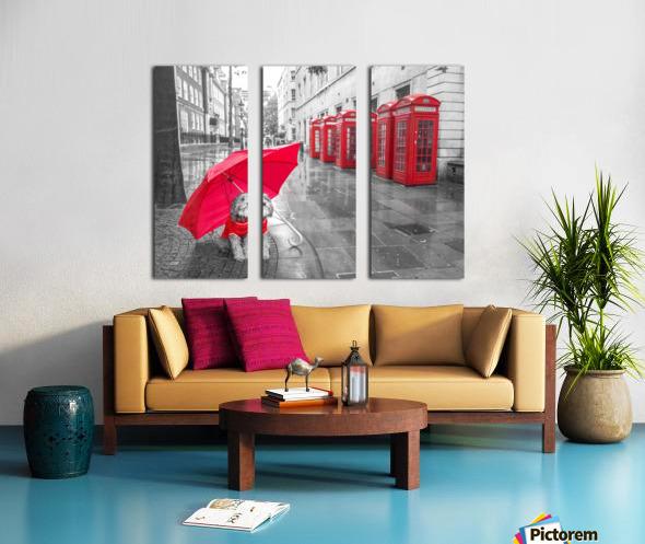 Dog with umbrella on London city street Split Canvas print