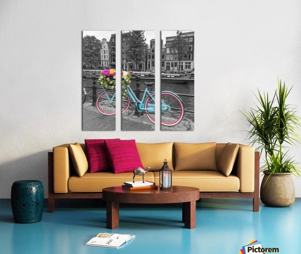 Bicycle with bunch of roses on bridge, Amsterdam Split Canvas print