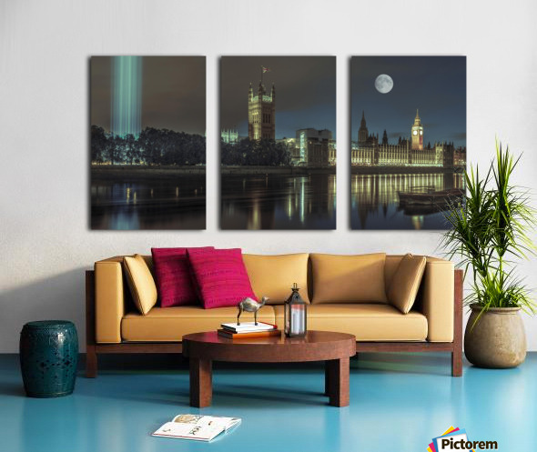Column of spectra lights with Westminster Abby, London, UK Split Canvas print