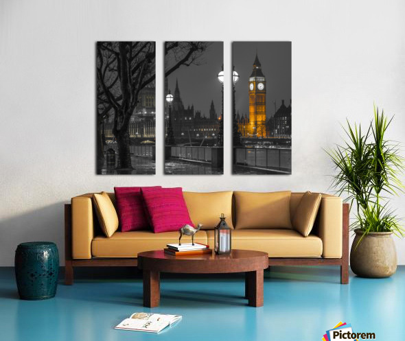 London cityscape in evening from Thames promenade Split Canvas print