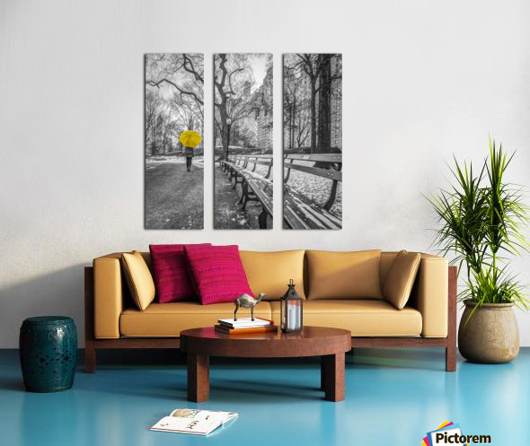 Tourist on pathway with Yellow umbrella at Central park, New York Split Canvas print