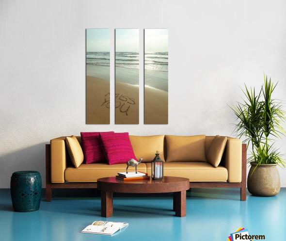 Miss You written on the beach Split Canvas print