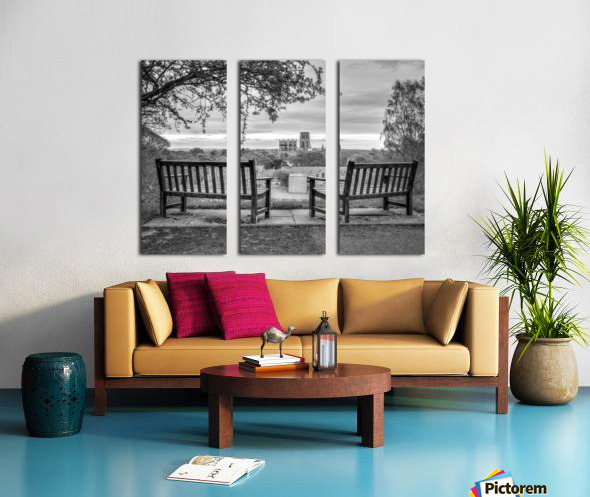 Park benches with Durham Cathedral in background Split Canvas print