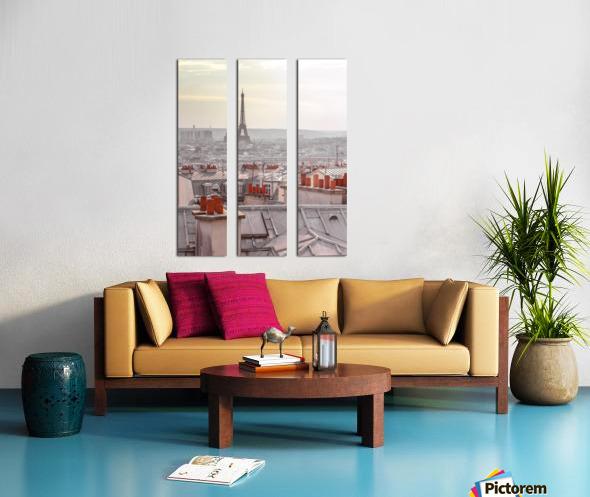 Eiffel Tower seen through the window of an apartment in Montmartre, Paris, France Split Canvas print