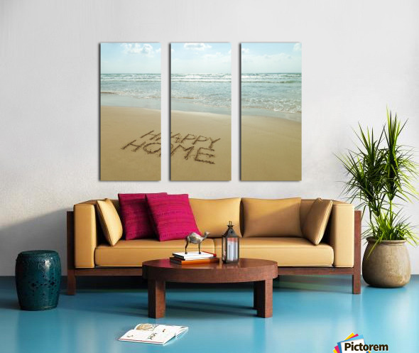 Happy Home written in sand on the beach Split Canvas print