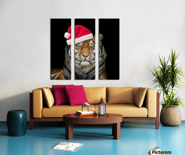 Tiger with Santa hat Split Canvas print