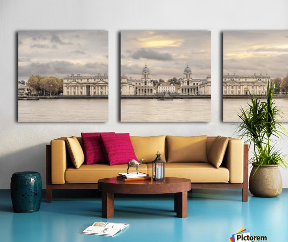 Royal Naval College at Greenwich with a view from the River Thames Split Canvas print