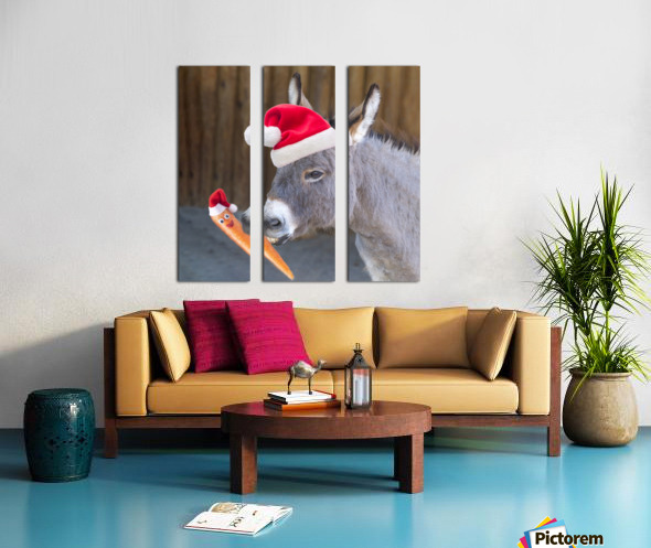 Donkey with Santa hat Split Canvas print