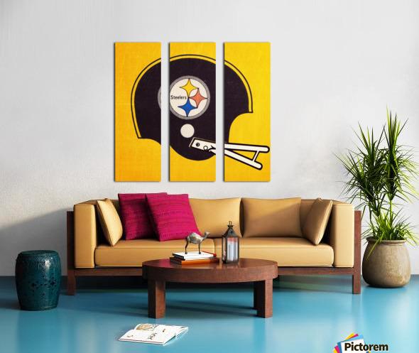 Vintage Pittsburgh Steelers Football Helmet Art Split Canvas print