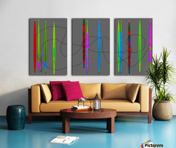HorizonGreenGrey Split Canvas print