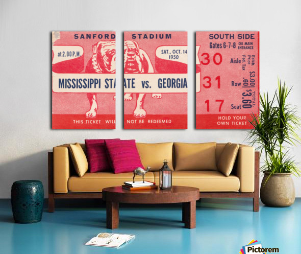 1950 Mississippi State vs. Georgia Split Canvas print
