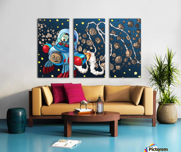 Buzzing Around the Solar System in a Rocket Ship - Bugville Critters Split Canvas print