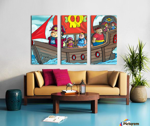 Pirate Ship on the High Seas - Bugville Critters Split Canvas print