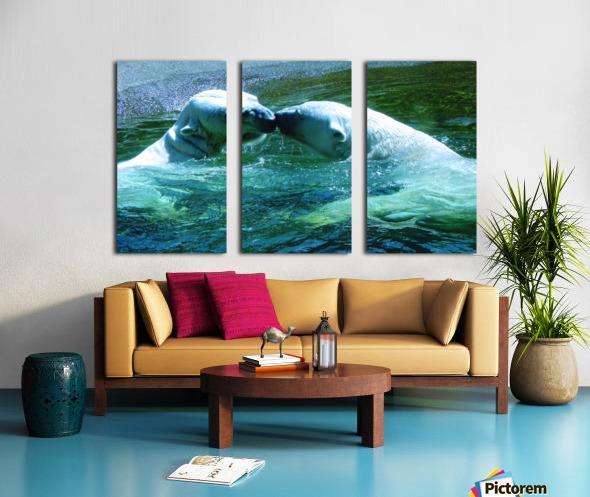 Kiss Me Polar Bears Split Canvas print