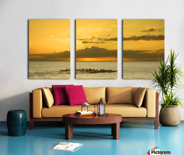 Long Canoes at Sunset Split Canvas print