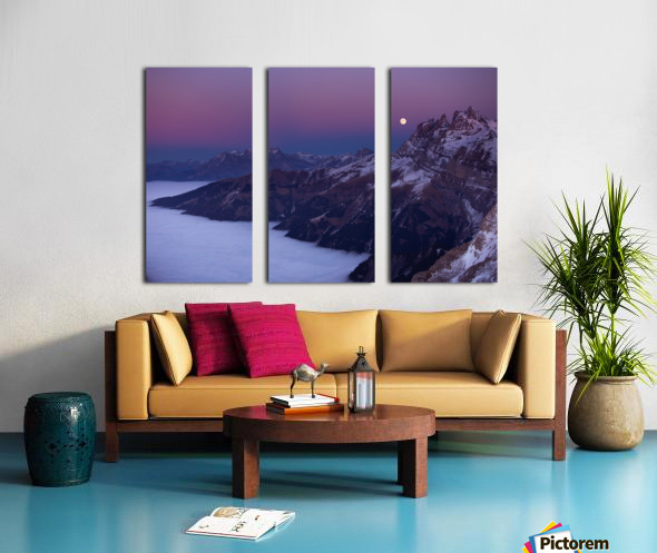 Full Moon over a sea of clouds Split Canvas print
