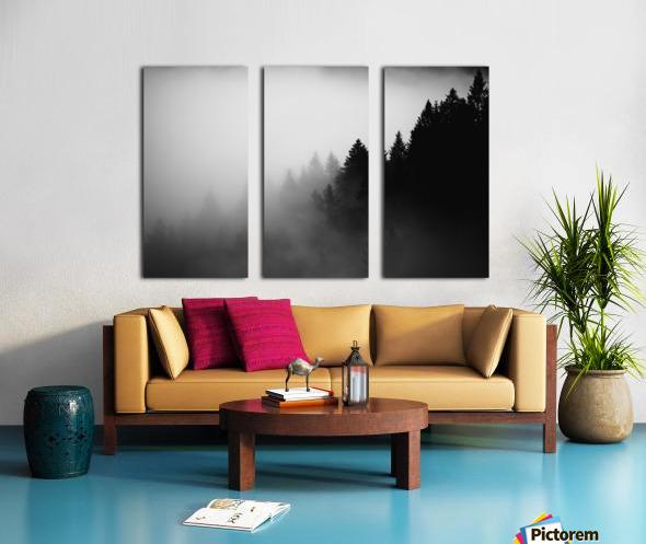 Pine trees in the fog Split Canvas print