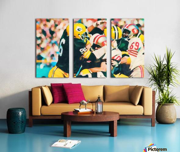 Vintage Green Bay Packers Art Digital Painting Split Canvas print
