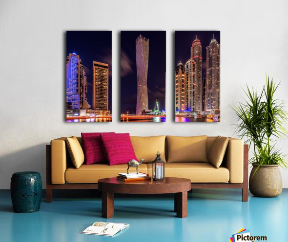 Dubai Marina Night Shot Split Canvas print