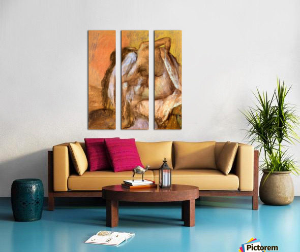 Seated female nude drying neck and back by Degas Split Canvas print