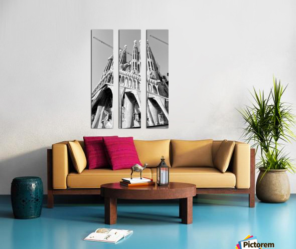 Barcelona Cathedral - La Sagrada Familia in black and white Split Canvas print