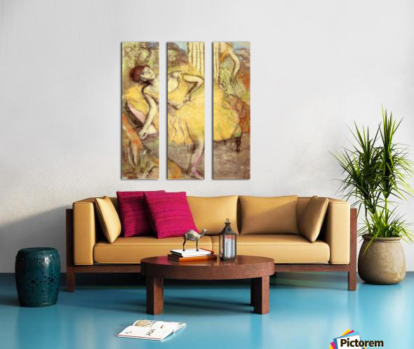 Sitting dancer with the right leg up by Degas Split Canvas print