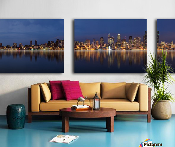 Seattle Skyline Panorama at Night Split Canvas print