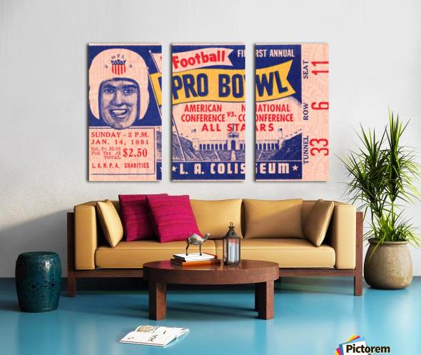 1951 First Pro Bowl Ticket Stub Art Split Canvas print