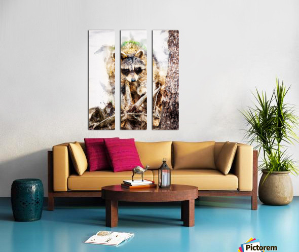 Raccoon In The Woods Split Canvas print